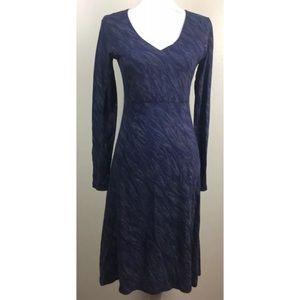 Horny Toad A-line Midi Blue Dress 3/4 Sleeve XS
